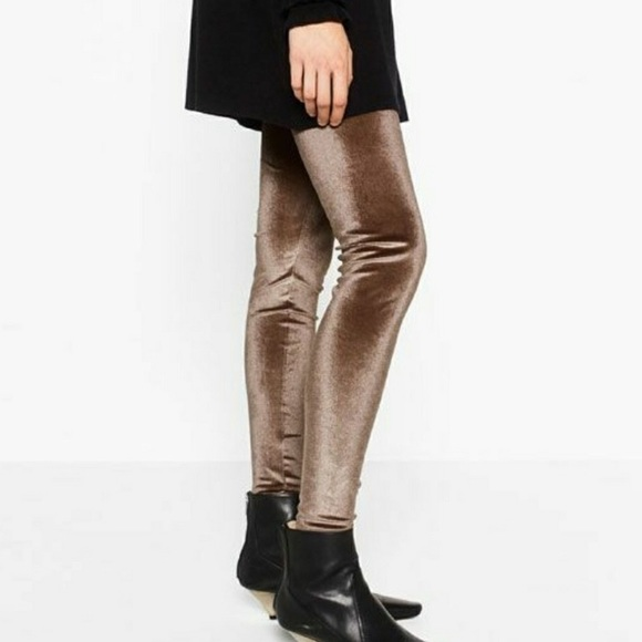 Beige Velvet Leggings